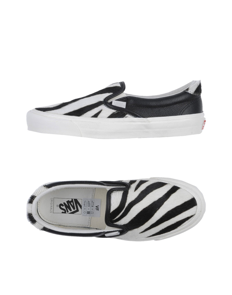 Vans White Low Top Zebra Stripes Leather Sneakers