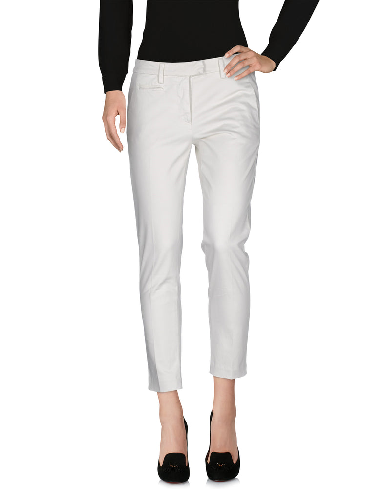Dondup Ivory Mid-Rise Tailored Trousers