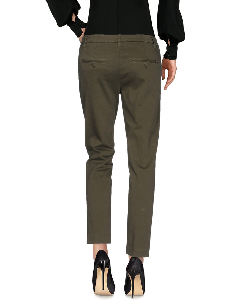 Dondup Military Green Gabardine Casual Trousers