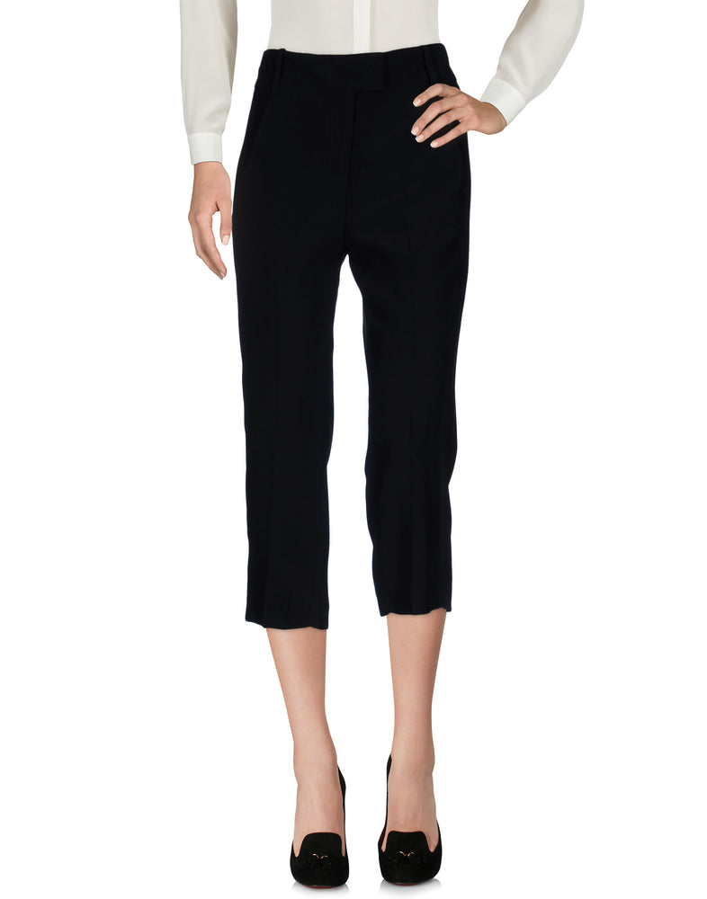 Dondup Black Straight Leg Cropped Tailored Trousers