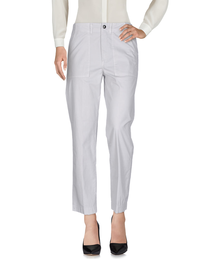 Dondup Light Grey High Waist Casual Trousers