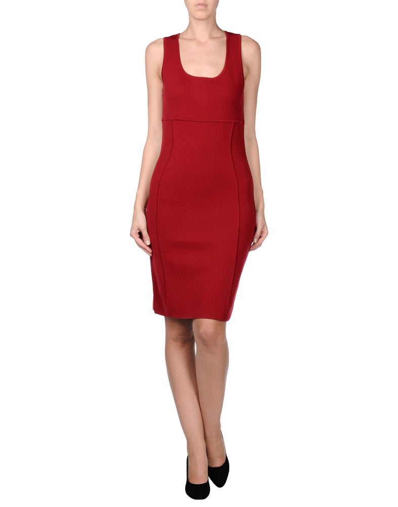 Michael Kors Red Knee Length Sleeveless Dress