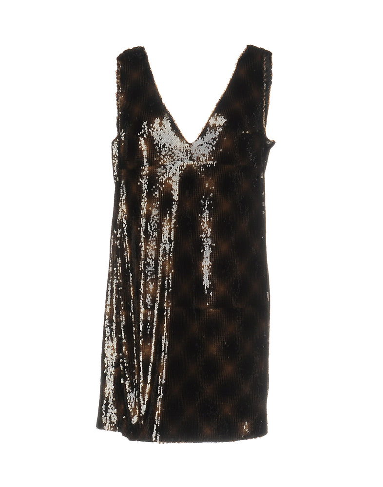 Dondup Dark Brown Sequins Mini Sleeveless Dress