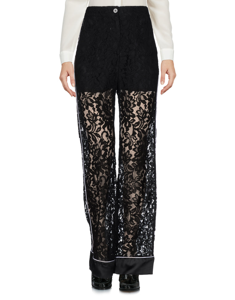 Pinko Black High Waist Floral Lace Trousers