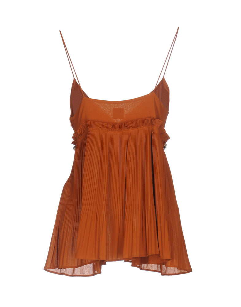 Pinko Brown Thin Straps Rhinestones Tank Top