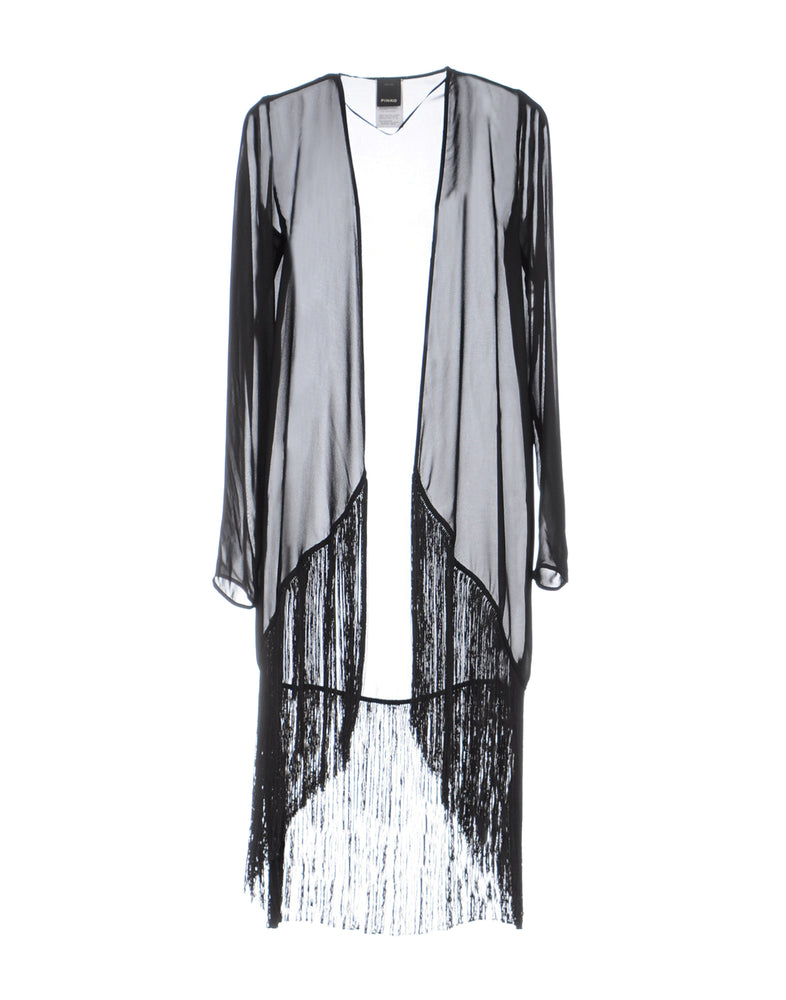 Pinko Black Fringe Long Sleeve Cardigan