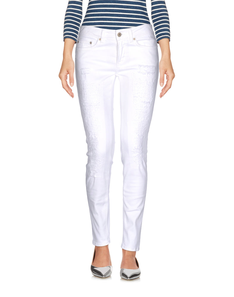 Dondup White Worn Effect Mid Rise Jeans