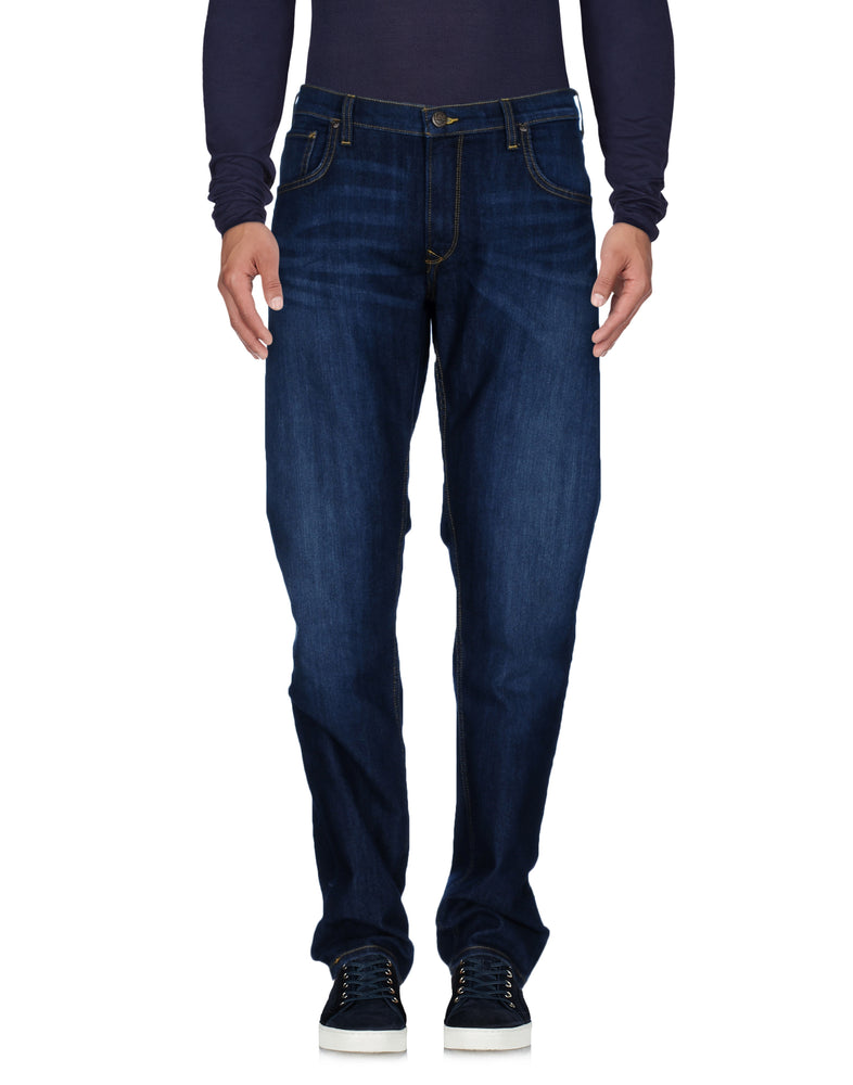 Lee Dark Wash Blue Denim Leather Details Jeans
