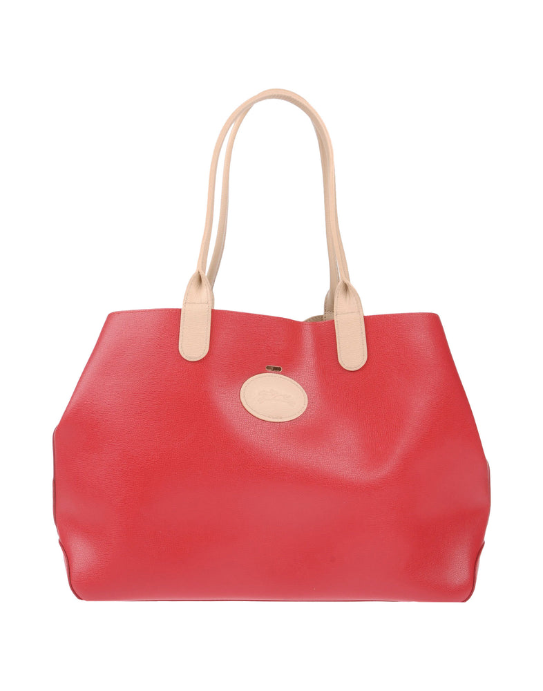 Longchamp Red Beige Leather Shopping Bag