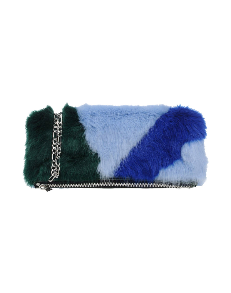 Pinko Sky Blue Faux Fur Clutch Bag