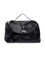 Gattinoni Black Faux Fur Satchel Handbag