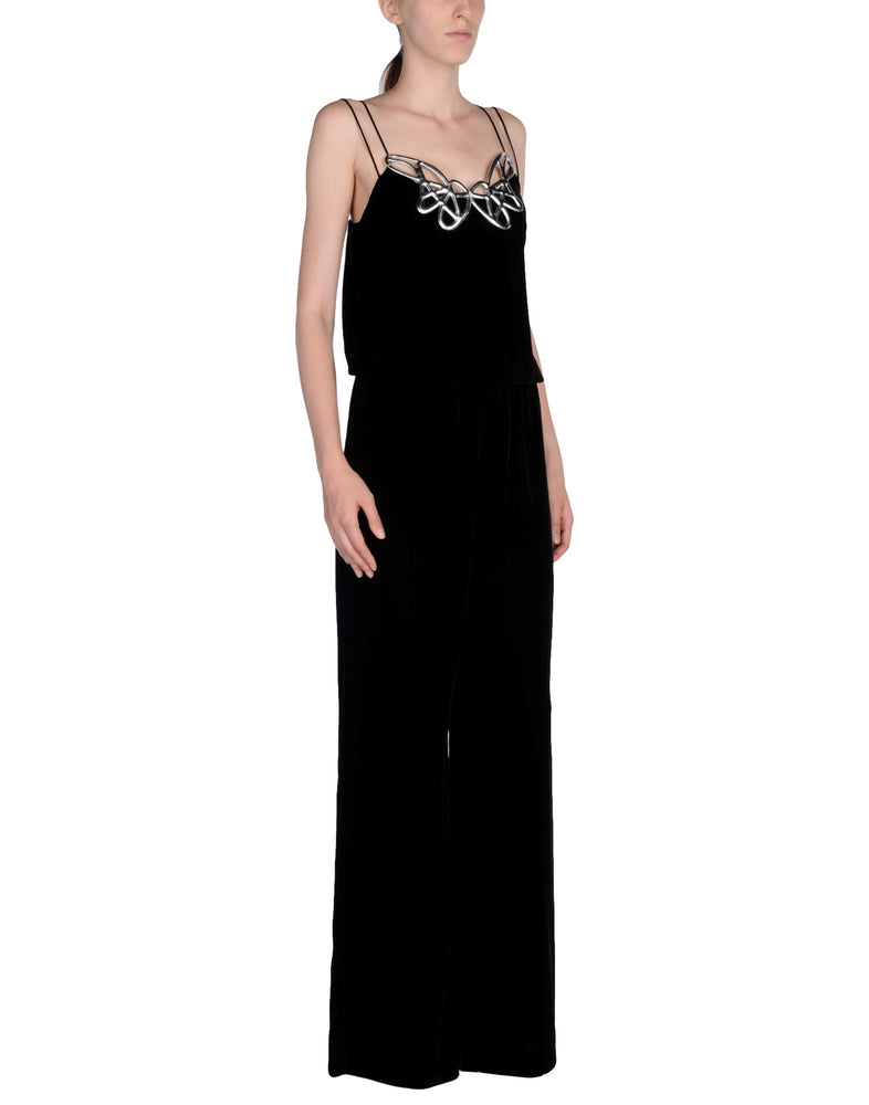 Pinko Black Velvet Sleeveless Jumpsuit