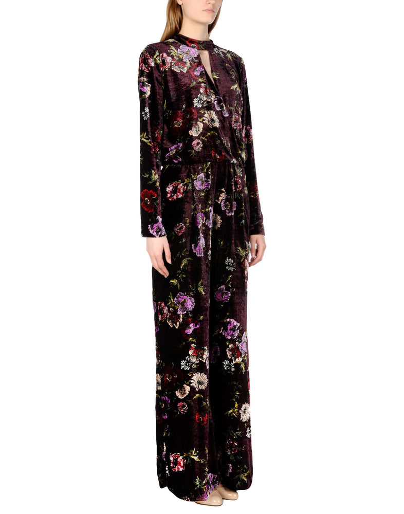 Pinko Purple Floral Velvet Long Sleeve Jumpsuit