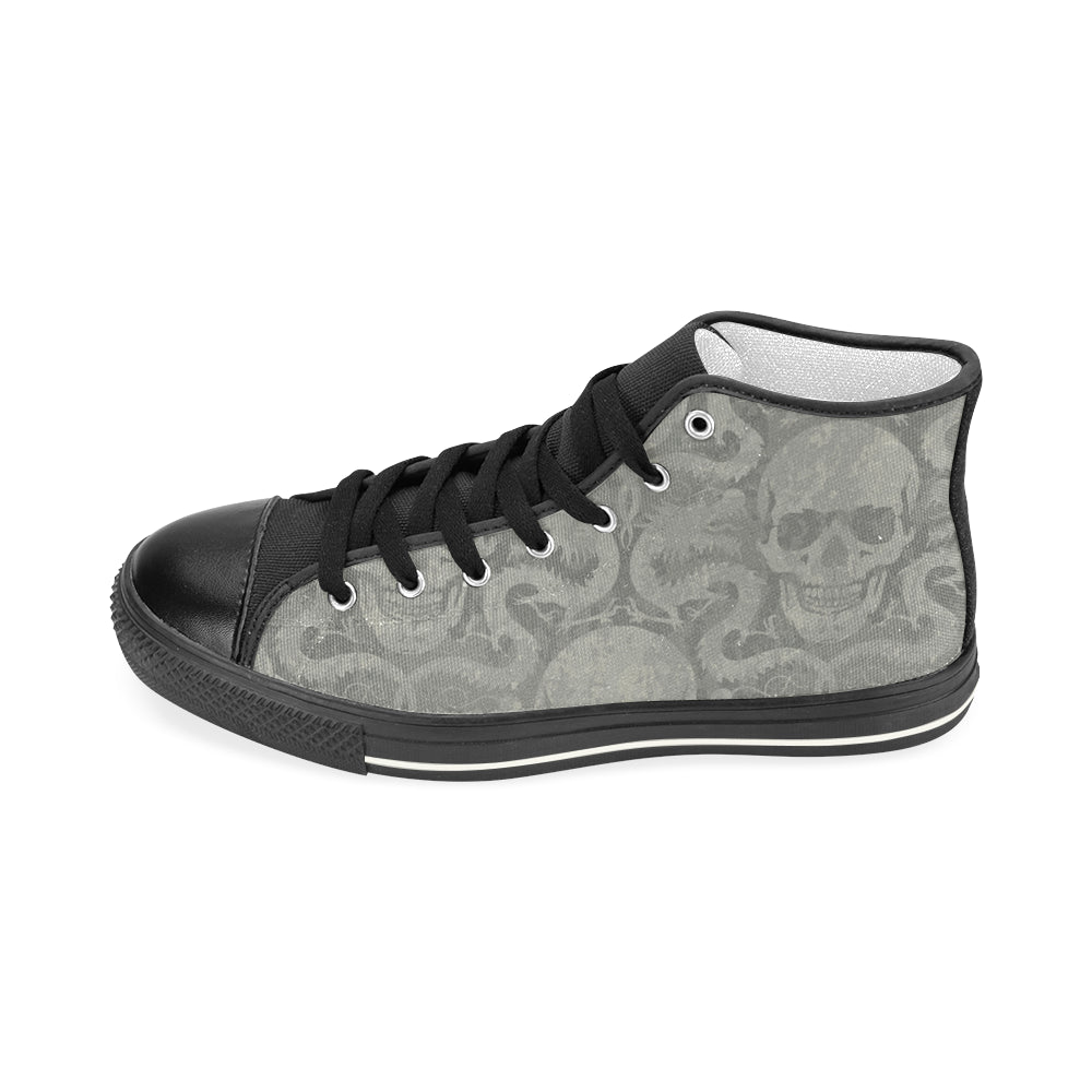 Gray Skull Canvas Ladies' Shoe