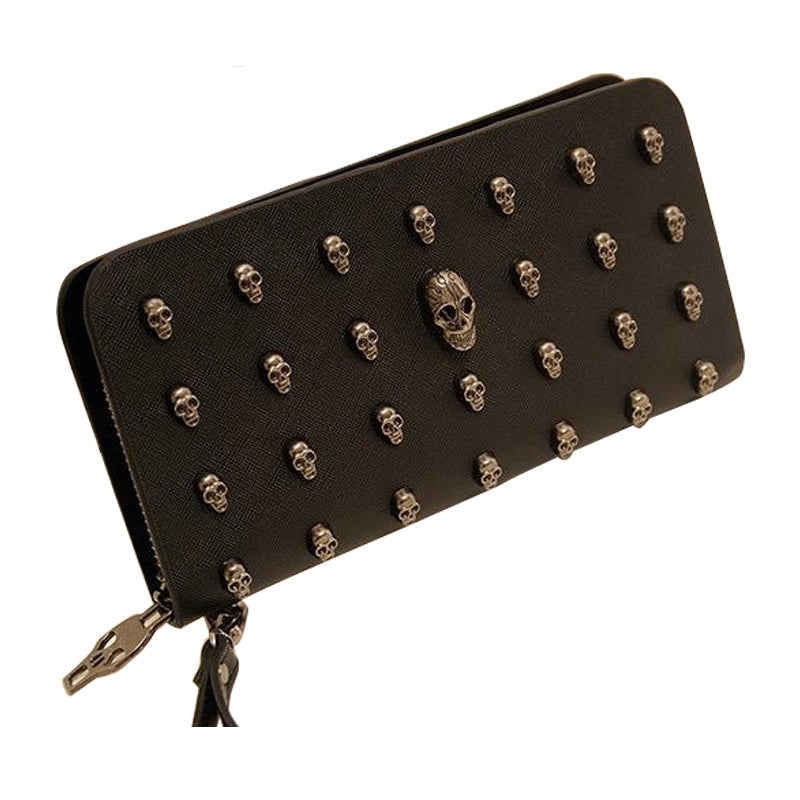 Black Studded Skull Clutch