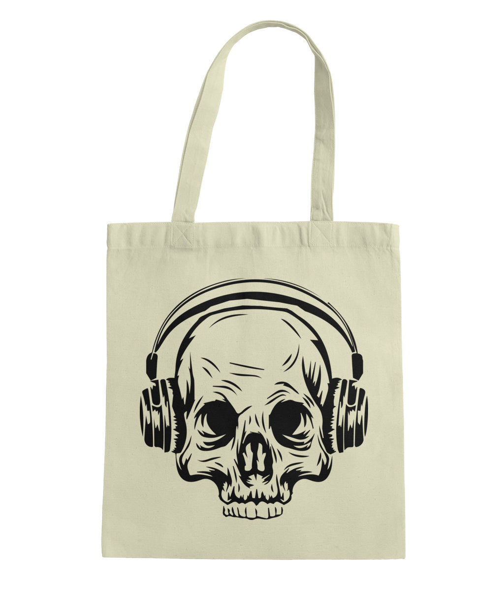 Skull and Headphones Tote Bag