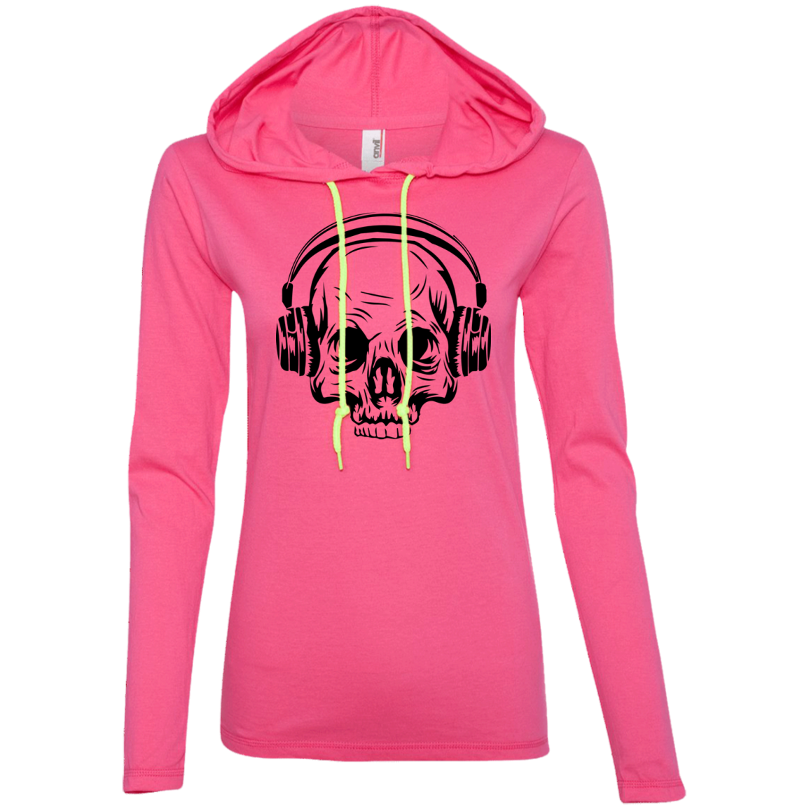 Skull Headphones Ladies' Hooded Long Sleeve