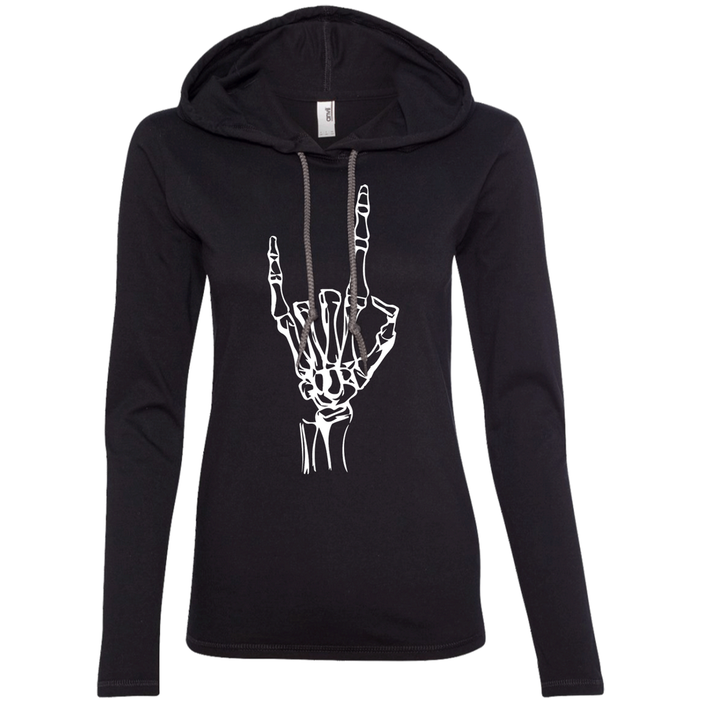 Black Devil Horns Ladies' Hooded Long Sleeve