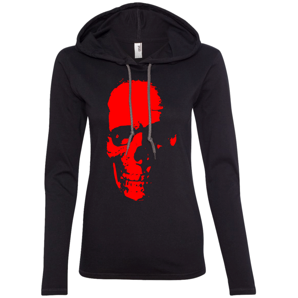 Red Skull Ladies' Hooded Long Sleeve