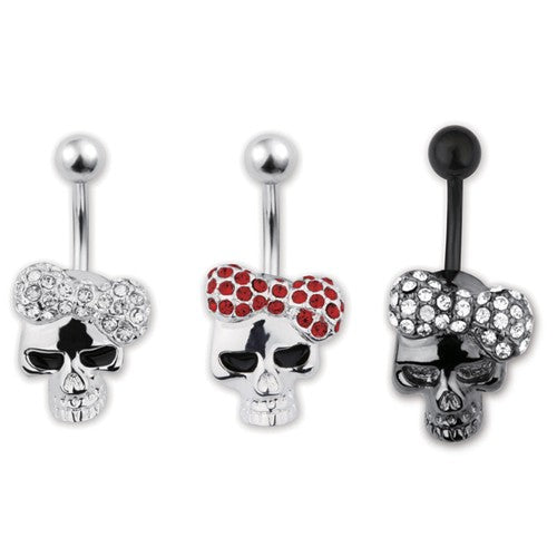 Jeweled Skull Navel Ring