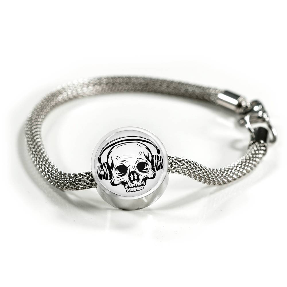 Skull Headphone Charm Bracelet