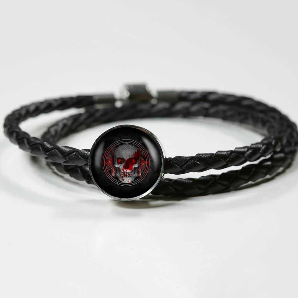 Blood Skull Leather Bracelet