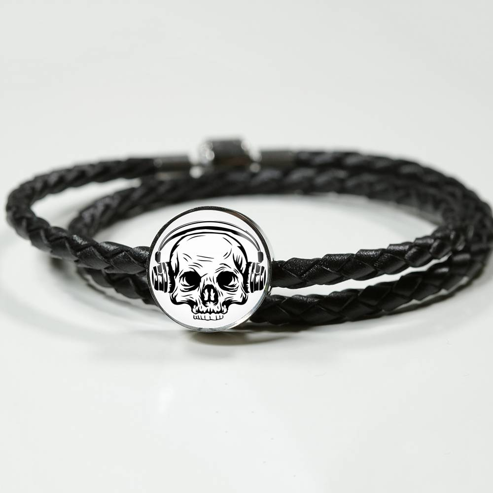 Skull Headphones Leather Charm Bracelet