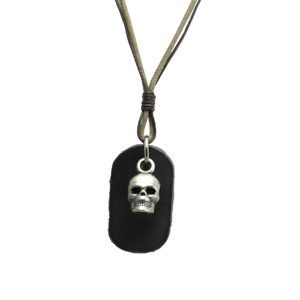 Skull Pendant Leather Necklace