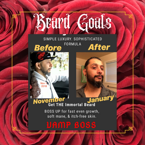 Man with beard before use of Vamp Boss-growth is slow and some dryness stiff hairs. After using Vamp Boss beard butter, beard is full, soft, even and hydrated.