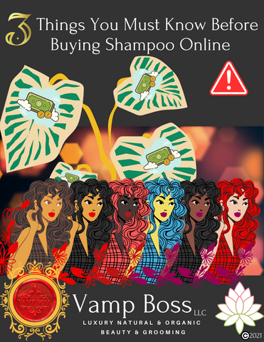 Title: 3 Things You Must Know Before Buying Shampoo Online. 5 women of varhying shades from deep bronze, mocha, sunkist, to ivory all stand shoulder to shoulder with long flowing hair. A money tree grows behind them. A red seal that reads: Vamp Boss is at the bottom along with a white lotus flower.