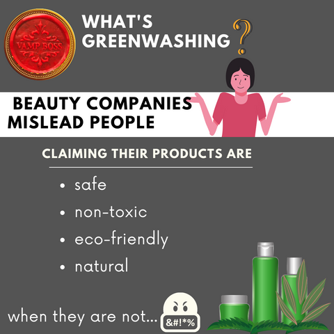Text reads: What's Greenwashing? Beauty companies mislead people claiming their products are: Safe, non-toxic, eco-friendly, and natural...when they are not. A picture of a woman looking confused with a question mark above her head is at the top. The Vamp Boss Wax seal is in the top left corner.