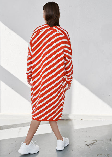 STRIPE LONG CARDIGAN, PUFFY STRIPE, PEPPERMINT