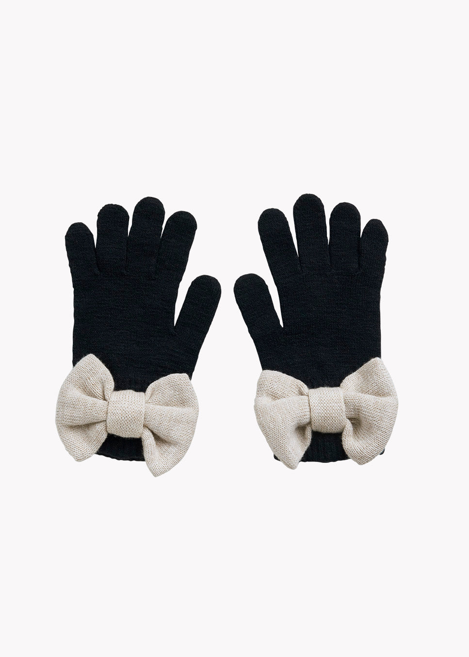 BOW GLOVES, BLACK, CREAM MELANGE, Adults