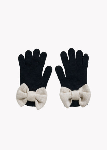 BOW GLOVES, BLACK, CREAM MELANGE