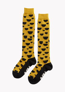 KNEE HIGH KNIT SOCKS, EARTH OCHRE, BLACK
