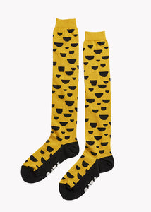 KNEE HIGH KNIT SOCKS, EARTH OCHRE, BLACK, Adults
