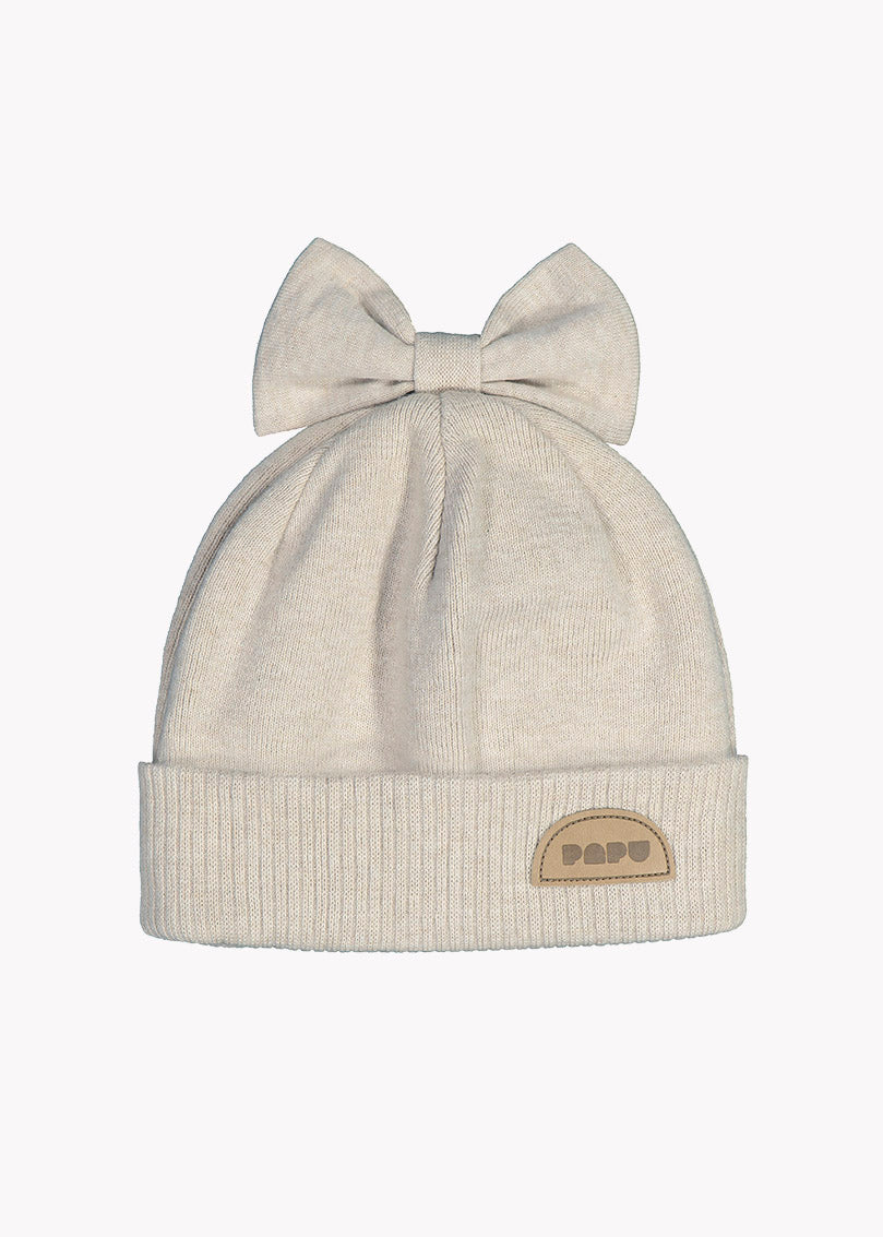 KNIT BOW BEANIE, CREAM MELANGE