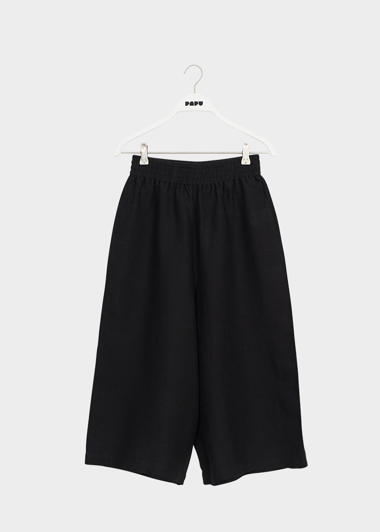 LINEN CULOTTES, Black, Women