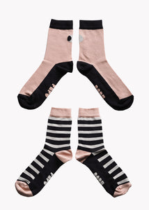 SOCKS, Double Pack, Black/Pink/Grey, Women