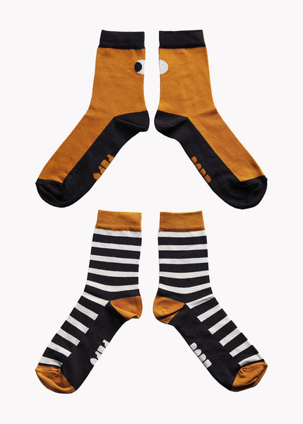 SOCKS, Double Pack, Black/Brown/Grey, Women