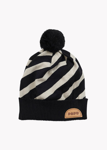 STRIPE BEANIE, Black/Silent Grey, Adults