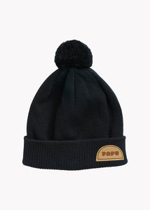 POM POM WOOL BEANIE, BLACK, Adults
