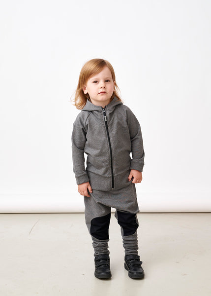 Papu kid's zip hoodie melange grey organic cotton