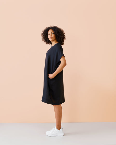 LINEN DRESS, Black, Adults