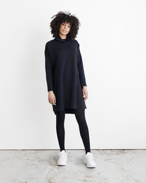 KNIT COSY DRESS, BLACK, Adults