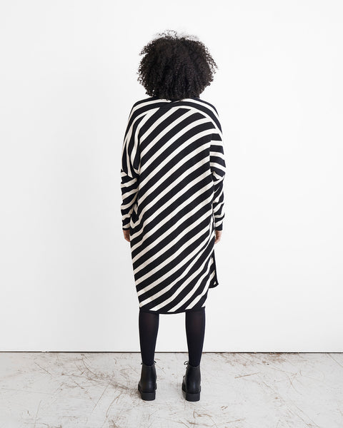KNIT STRIPE LONG CARDIGAN, Black/Sand, Adults