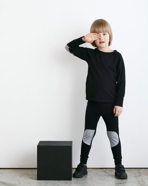 PATCH LEGGINGS, BLACK / STONE GREY