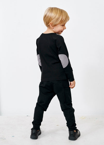 Papu kid's pants black thigh pocket pants college