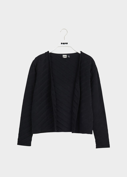 SHORT KNIT CARDIGAN, Black, Structure Knit, Women