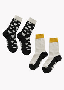 SOCKS, BLACK, OCHRE, CREAM / DOUBLE PACK